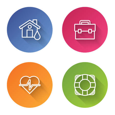 Set line House flood, Briefcase, Life insurance and Lifebuoy. Color circle button. Vector