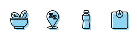 Set line Bottle of water, Salad in bowl, Sleepy and Bathroom scales icon. Vector