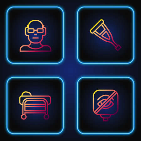 Set line Blindness, Stretcher, Poor eyesight and Crutch crutches. Gradient color icons. Vector