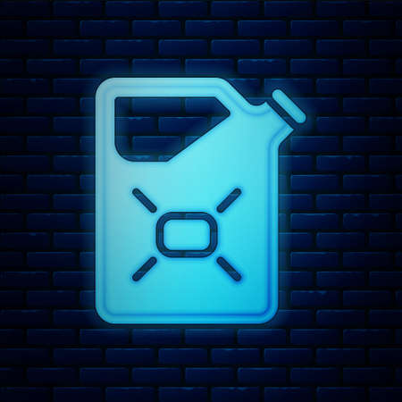 Glowing neon Canister for flammable liquids icon isolated on brick wall background. Oil or biofuel, explosive chemicals, dangerous substances. Vector