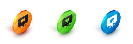 Isometric Udder icon isolated on white background. Circle button. Vector