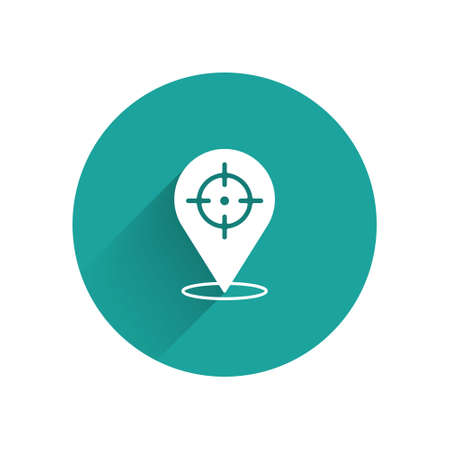 White Target financial goal concept icon isolated with long shadow. Symbolic goals achievement, success. Green circle button. Vector