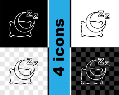 Set line Time to sleep icon isolated on black and white, transparent background. Sleepy zzz. Healthy lifestyle. Vector Vector Illustration