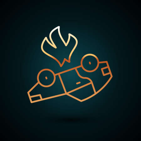 Gold line Burning car icon isolated on dark blue background. Car on fire. Broken auto covered with fire and smoke. Vector