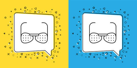Set line Glasses for the blind and visually impaired icon isolated on yellow and blue background. Vector