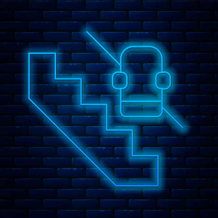 Glowing neon line Disabled access elevator lift escalator icon isolated on brick wall background. Movable mechanical chair platform for handicapped human. Vector