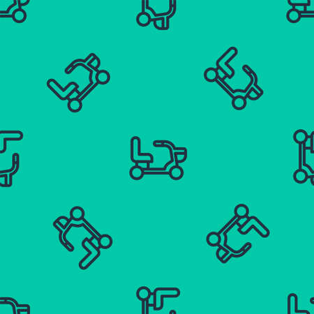 Blue line Electric wheelchair for disabled people icon isolated seamless pattern on green background. Mobility scooter icon. Vector