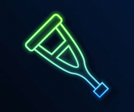 Glowing neon line Crutch or crutches icon isolated on blue background. Equipment for rehabilitation of people with diseases of musculoskeletal system. Vector