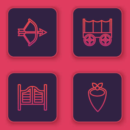 Set line Bow and arrow in quiver, Saloon door, Wild west covered wagon and Cowboy bandana. Blue square button. Vector
