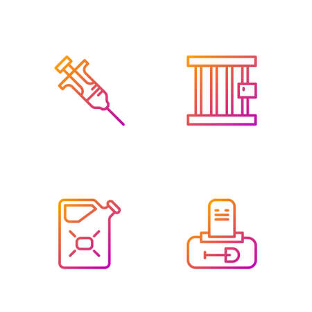 Set line Grave with tombstone, Canister fuel, Syringe and Prison window. Gradient color icons. Vector