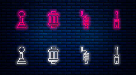 Set line Car air filter, muffler, Gear shifter and Screwdriver. Glowing neon icon on brick wall. Vector
