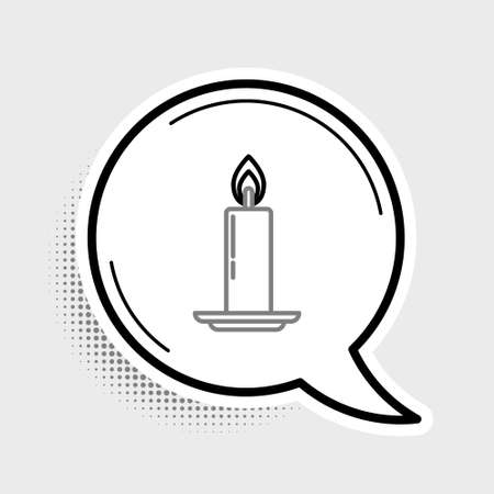Line Burning candle in candlestick icon isolated on grey background. Old fashioned lit candle. Cylindrical candle stick with burning flame. Colorful outline concept. Vector Vektorgrafik