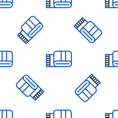 Line Towel stack icon isolated seamless pattern on white background. Colorful outline concept. Vector