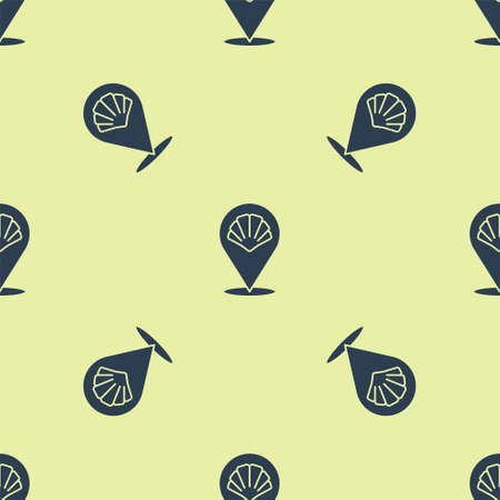 Blue Scallop sea shell icon isolated seamless pattern on yellow background. Seashell sign. Vector