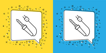Set line Soldering iron icon isolated on yellow and blue background. Vector