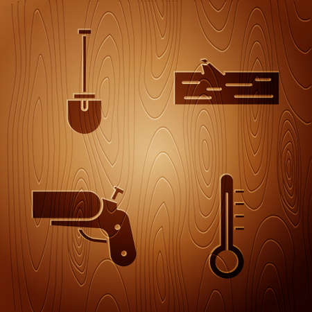 Set Meteorology thermometer, Shovel, Flare gun pistol and Wooden log on wooden background. Vector
