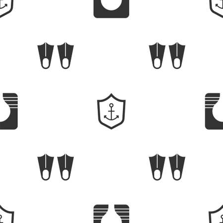 Set Life jacket, Anchor inside shield and Rubber flippers on seamless pattern. Vector