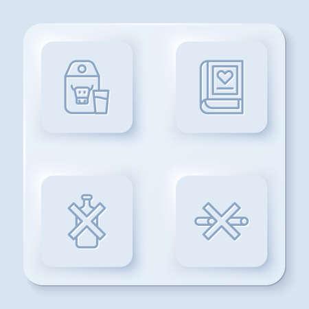 Set line Paper package for milk, Medical book, No alcohol and Smoking. White square button. Vector Vektoros illusztráció