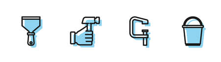 Set line Clamp and screw tool, Putty knife, Hammer and Bucket icon. Vector