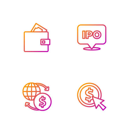 Set line Coin money with dollar, Money exchange, Wallet and IPO. Gradient color icons. Vector Vecteurs