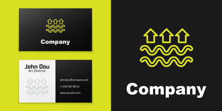 Logotype line Waves of water and evaporation icon isolated on black background. Logo design template element. Vector
