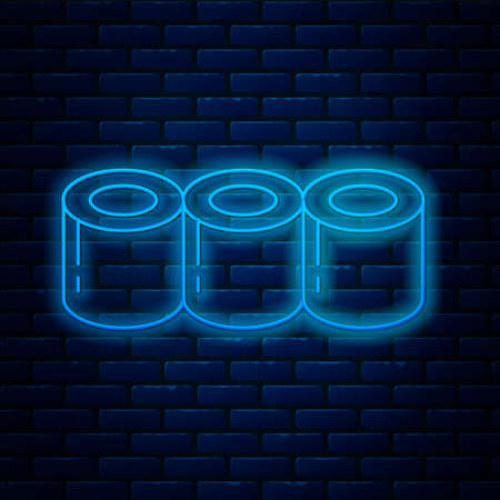 Glowing neon line Sushi icon isolated on brick wall background. Traditional Japanese food. Vector Ilustração Vetorial