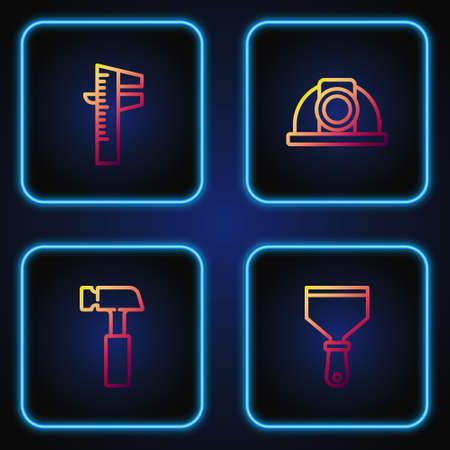 Set line Putty knife, Hammer, Calliper or caliper and scale and Worker safety helmet. Gradient color icons. Vector