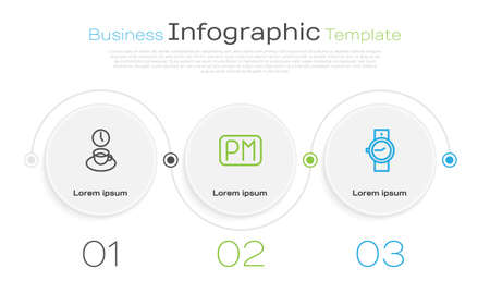 Set line Coffee time, Day and Wrist watch. Business infographic template. Vector