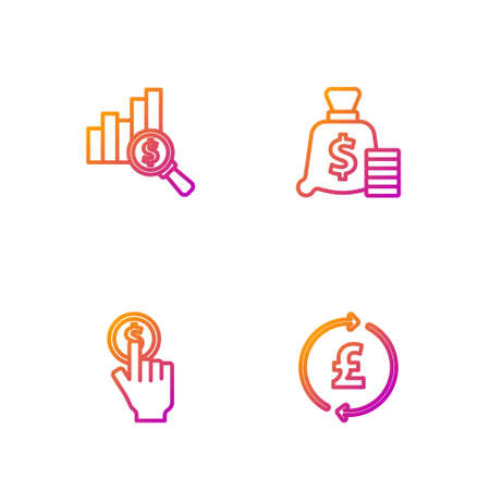 Set line Coin money with pound, Hand holding coin, Pie chart dollar and Money bag. Gradient color icons. Vector