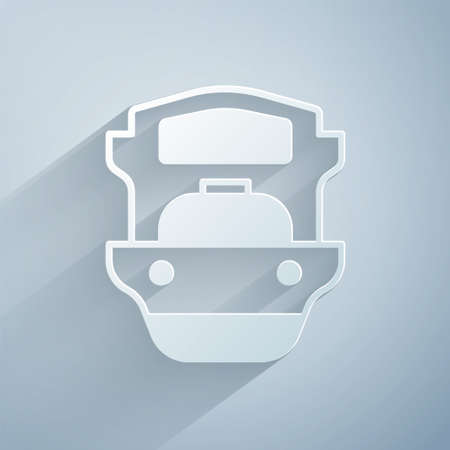 Paper cut Oil tanker ship icon isolated on grey background. Paper art style. Vector