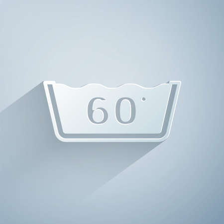 Paper cut Washing under 60 degrees celsius icon isolated on grey background. Temperature wash. Paper art style. Vector