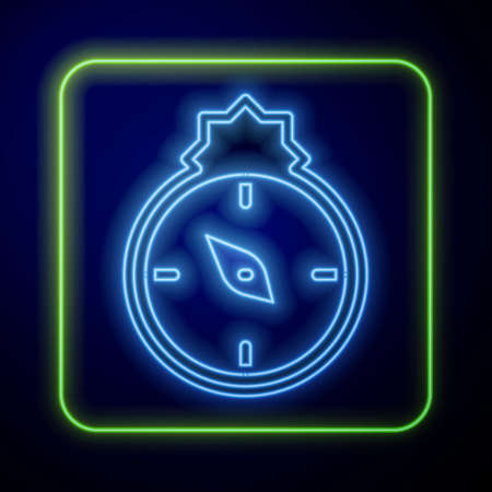 Glowing neon Qibla icon isolated on blue background. Qibla Islamic Arab term used for the direction for offering a prayer. Vector