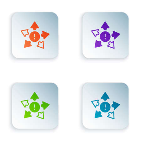 Color Many ways directional arrow icon isolated on white background. Set colorful icons in square buttons. Vector