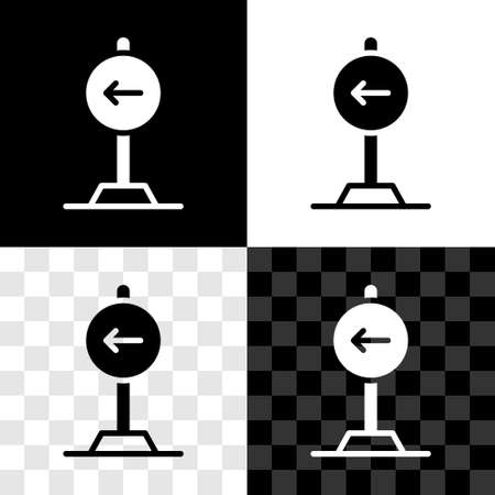 Set Traffic sign turn left warning attention icon isolated on black and white, transparent background. Traffic rules and safe driving. Vector