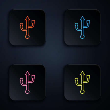 Color neon line USB symbol icon isolated on black background. Set icons in square buttons. Vector