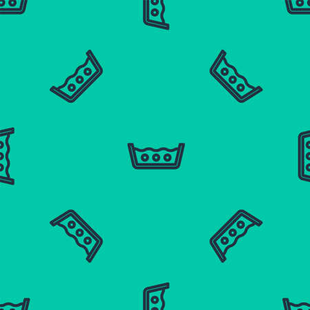 Blue line Washing under 50 degrees celsius icon isolated seamless pattern on green background. Temperature wash. Vector Vektorgrafik