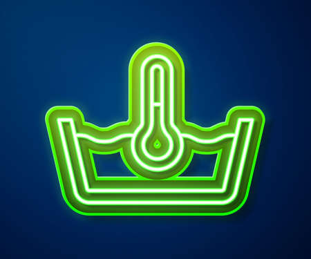 Glowing neon line Temperature wash icon isolated on blue background. Temperature wash. Vector