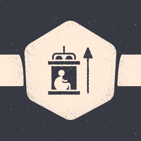 Grunge Elevator for disabled icon isolated on grey background. Monochrome vintage drawing. Vector