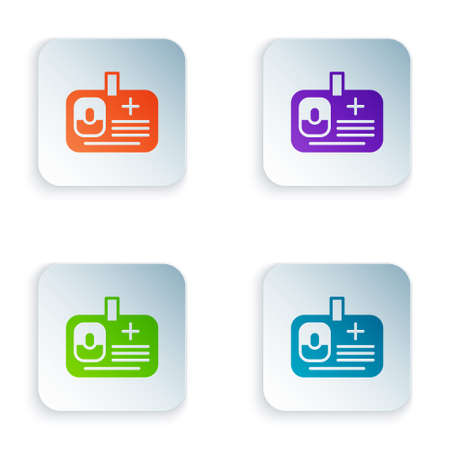 Color Identification badge icon isolated on white background. It can be used for presentation, identity of the company, advertising. Set colorful icons in square buttons. Vector