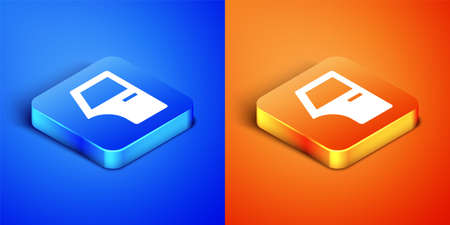 Isometric Car door icon isolated on blue and orange background. Square button. Vector