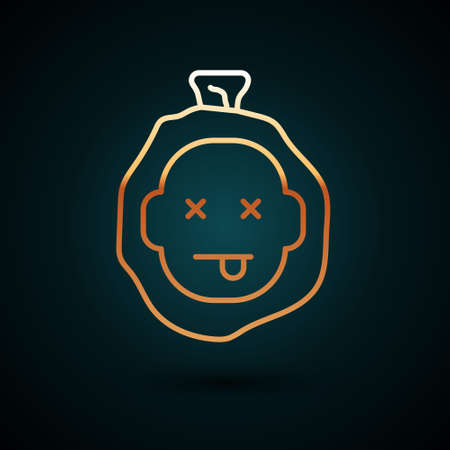 Gold line Murder icon isolated on dark blue background. Body, bleeding, corpse, bleeding icon. Dead head. Concept of crime scene. Vector