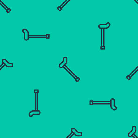 Blue line Walking stick cane icon isolated seamless pattern on green background. Vector