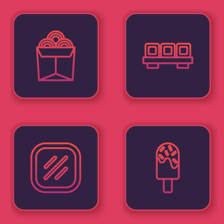Set line Noodles in box, Steak meat, Sushi on cutting board and Ice cream. Blue square button. Vector