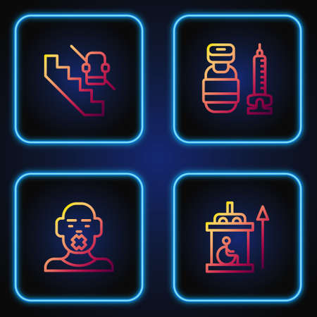 Set line Elevator for disabled, Head of deaf and dumb, Disabled elevator and Syringe. Gradient color icons. Vector