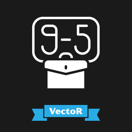 White From 9:00 to 5:00 job icon isolated on black background. Concept meaning work time schedule daily routine classic traditional employment. Vector