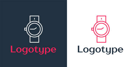 Logotype line Wrist watch icon isolated on white background. Wristwatch icon. Logo design template element. Vector