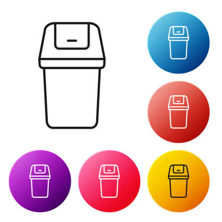 Black line Trash can icon isolated on white background. Garbage bin sign. Recycle basket icon. Office trash icon. Set icons colorful circle buttons. Vector