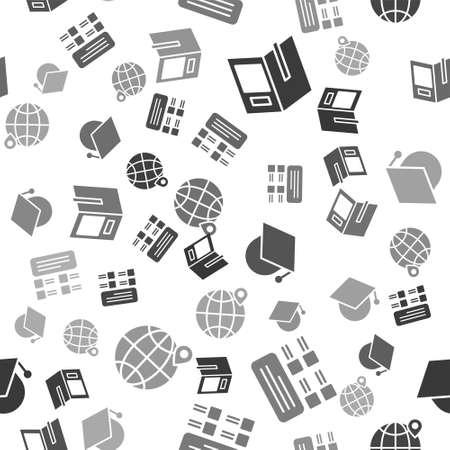 Set Open book, Online quiz, test, survey, Graduation cap on globe and Location on the globe on seamless pattern. Vector Vektoros illusztráció