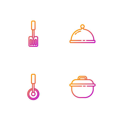 Set line Cooking pot, Pizza knife, Spatula and Covered with tray of food. Gradient color icons. Vector