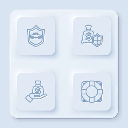 Set line Car with shield, Money, in hand and Lifebuoy. White square button. Vector
